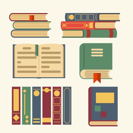 libros abiertos: Iconos libros: abierto, cerrado. Diseño plano, ilustración vectorial. aplicaciones web y móviles Vectores