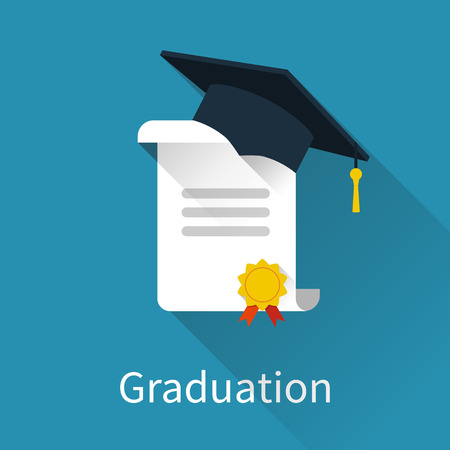 the alumnus: Graduation cap and diploma. Icon in a flat design with long shadow. Vector illustration Illustration