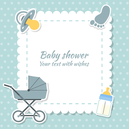 date of birth: Baby shower boy invitation card. Place for text.  Greeting cards.