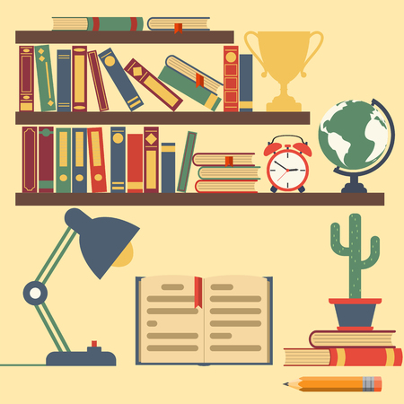 place of work: Bookshelves with books, home library. Interior room with shelves of literature, clocks, globes, cups, table lamp. Place work.  Flat design. Vector  illustration