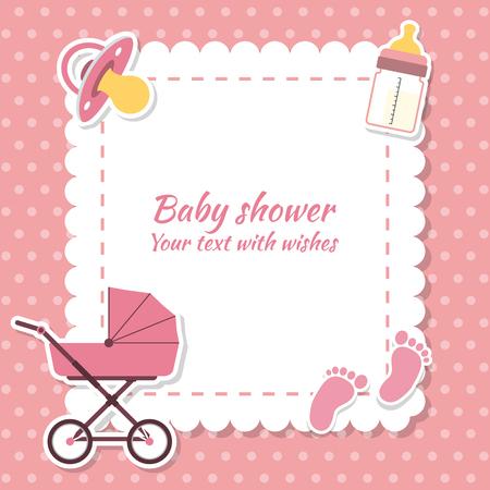 cigogne: Bébé douche fille, carte d'invitation. Placez pour le texte. Cartes de voeux