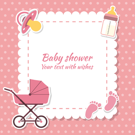 baby toy: Baby shower girl, invitation card. Place for text.  Greeting cards Illustration