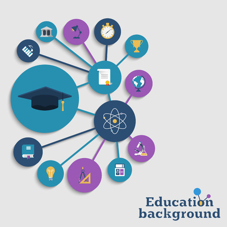 Education concept background. Icons education equipment, graduation and science. Abstract education background. Vector illustration.