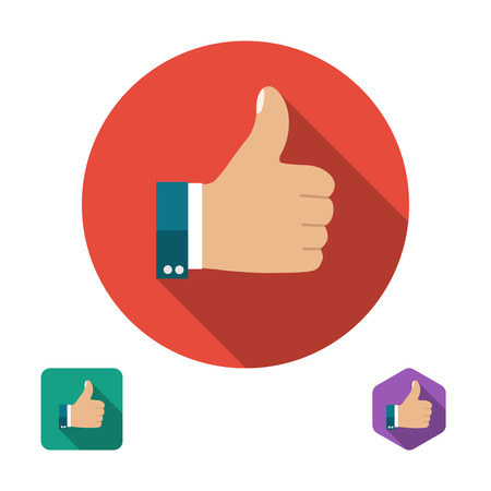 finger up: Like icon. Thumb up symbol. Set icons in flat style with long shadows. Three types of icons: circle, square, hexagon. Vector illustration Illustration