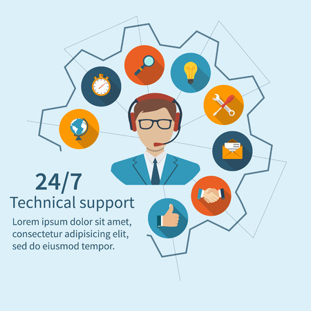 Customer support, technical support. Operator call center and a set of services. Abstract vector illustration of a flat design.