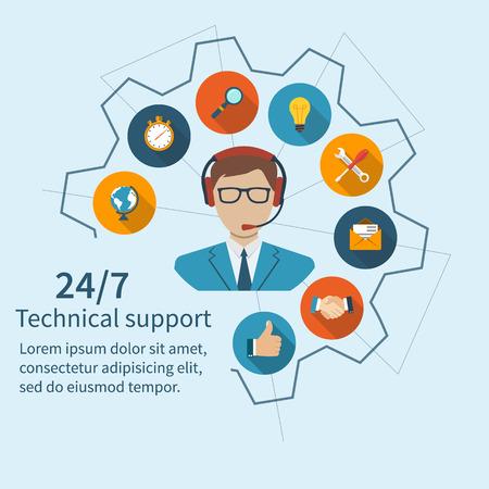 La atención al cliente, soporte técnico. centro de llamadas del operador y un conjunto de servicios. Resumen ilustración vectorial de un diseño plano.
