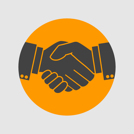 male hand: handshake icon, businessman agreement. Vector illustration. shaking hands. symbol of a successful transaction