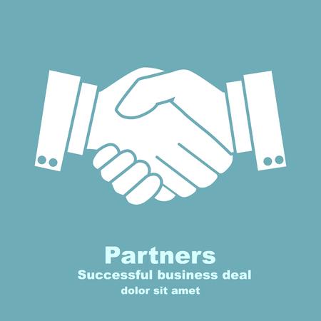 hand shake: acuerdo empresario apretón de manos. Vector ilustración de estilo plano. dar la mano. símbolo de una transacción exitosa