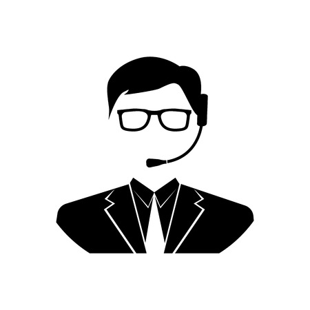 handsfree: Assistant icon. Silhouette operator call center with headset, icon vector illustration