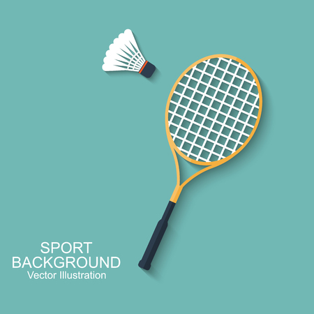 Badminton racket and shuttlecocks. Icon in flat design with shadow. Sport background. Vector illustration. Background for design of mobile, web app and printed materials Stock Illustratie