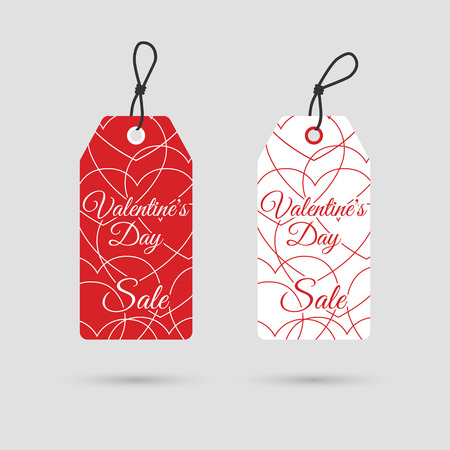 price list: Valentines day sale. Valentines day labels for advertising and promotion. Banner, template, poster. Price list discount valentines. Vector illustration