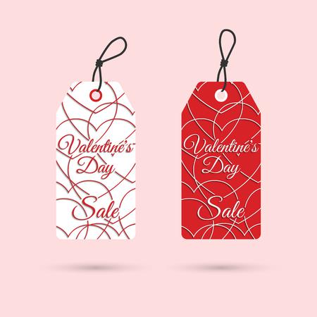 price list: Valentines day sale. Valentines day labels. Price list discount valentines. Vector illustration Illustration