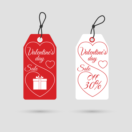tag valentine: Valentines day sale banners. Special offer Valentines day. Valentines day labels for advertising and promotion. Vector illustration Illustration