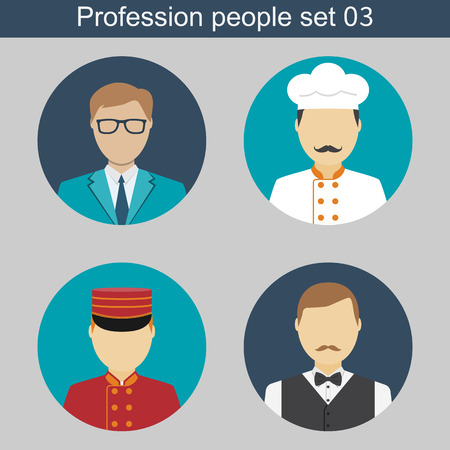 janitor: Staff restaurant, cook, waiter, janitor, manager. Set flat icons avatars. Vector illustrations. Template elements for web and mobile applications