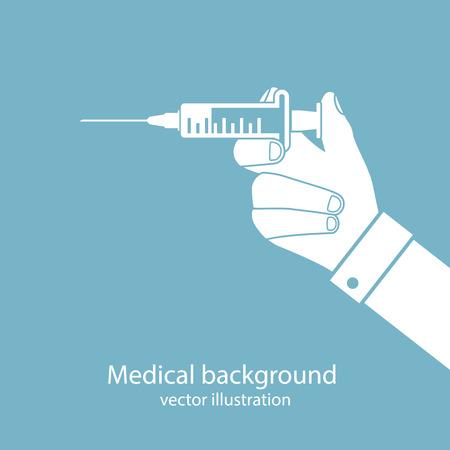 syringe in doctor hand. flat design.