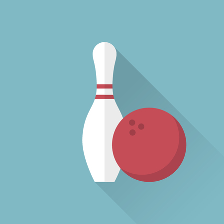 skittle: Bowling icon. Skittle and ball. Sport background. Game, entertainment, sports. vector illustration, flat style. Set bowling. Bowling icon color.