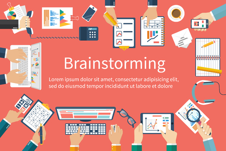 Brainstormen, vector plat design. Zakelijke bijeenkomst. Teamwork planning planning strategie, analyse, marktonderzoek, presentatie, financieel management. Groep diversiteit mensen. Stock Illustratie
