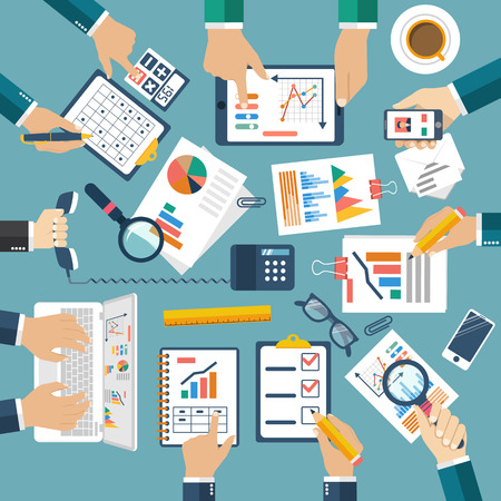 document management: Meeting of  business people for business planning, teamwork  analyzing project, strategy,  research, development, financial management, marketing research, statistic, solution. Brainstorming. Vector