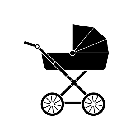 Baby carriage icon.  Baby stroller icon silhouette. Vector.