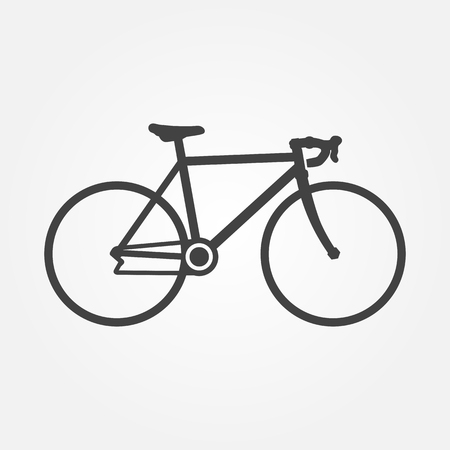 Vector bike icon. Silhouette of a racing bike. Bicycle icon. Minimal flat design. Black bicycle pictogram on white background. Isolated rake. Biking. Bike icon for website and mobile applications.