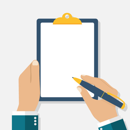 Man holds a clipboard and writes. Empty blank. Pen in hand. A blank sheet of paper to write. Vector illustration, flat design.
