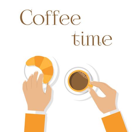 El café y croissants, las manos del hombre. Manos sosteniendo la taza de café y cruasanes. Vista superior, primer plano. Diseño plano, vector. Desayuno. etiqueta de menú concepto. Plantilla, bandera. El café caliente, croissant fresco