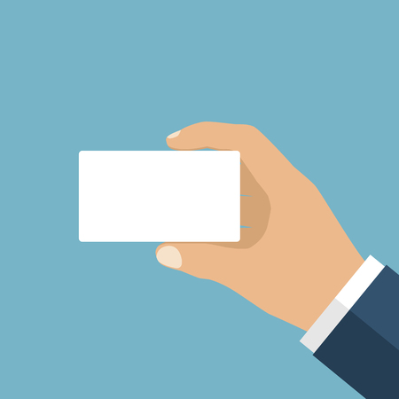hand holding id card: Man holding a blank card in his hand. Credit card, ID card. It can be used as a template for a credit card, identity card, place for text. Flat style vector.