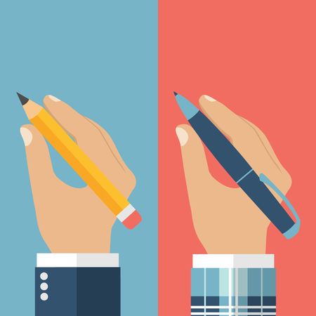 persona escribiendo: Lápiz en la mano. Pluma en la mano. Un hombre que sostiene un lápiz y la pluma. ilustración vectorial, diseño plano. Escritor, periodista, estudiante. Escritura de la mano del hombre. Establecer la mano con la pluma y lápiz.