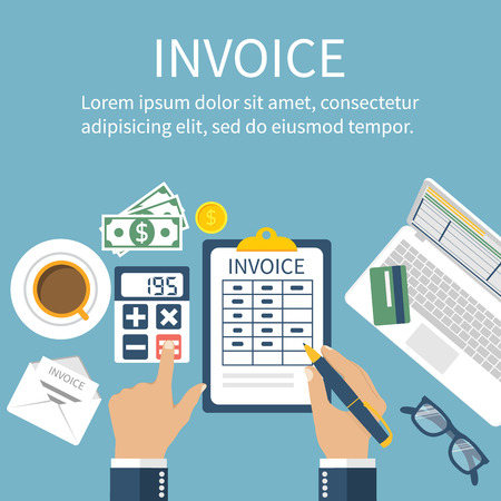accounting design: Invoice. Man at table, calculations on payment, bills, receipts, invoices. Flat design, abstract vector. Invoice bill concept. Accounting checking Invoice. Paperwork. Calculator, laptop, money.