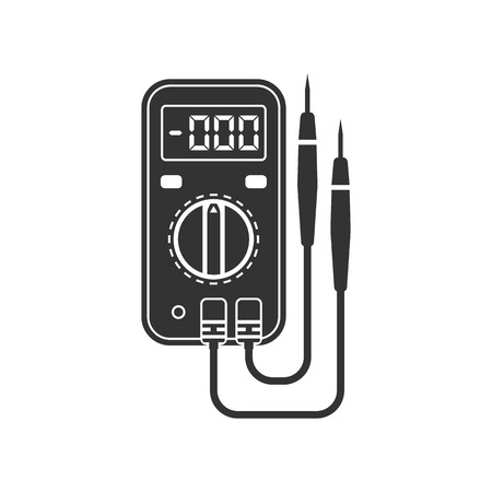 amperage: Digital multimeter. Electrical measuring instrument: voltage, amperage, ohmmeter, power. Icon multimeter black on a white background. Element design, logo, background. Flat style, vector illustration