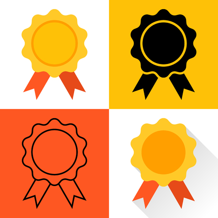 awards: Medal icon. Gold medal. Set of medals: Medal colorful flat design, the black silhouette of a medal, medal outline, medal with long shadow. Trophy, awards, medal. Medal vector.