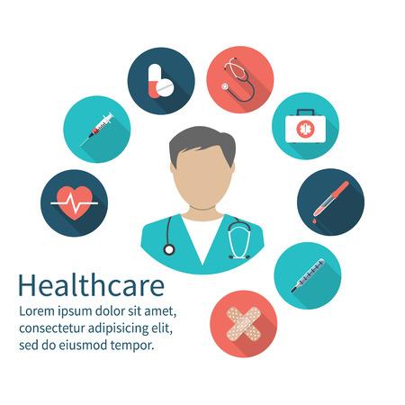 アイコンの医者。医療コンセプト。長い影とフラット色のアイコン。ベクトルの図。医学の背景。健康の概念。医療機器緊急医師。  イラスト・ベクター素材
