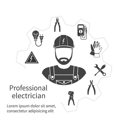 plug hat: Concept of profession electrician. Repair and maintenance of electricity. Electricity service. Electricians tools, equipment. Banner, template, logo, background. Vector. Electrician occupation.