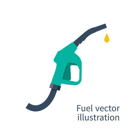 Pompe à carburant. Essence signe de la station. Signe de la station de gaz. Essence buse de la pompe. fond de carburant. Vector illustration, design plat. pompe à essence avec une chute. pompe à carburant icône.