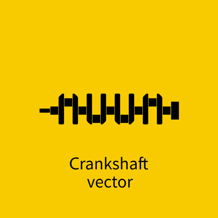 crankshaft: Spare engine, crankshaft, vector. Crankshaft icon. Spare cars. Engine parts. Black icon on a yellow background. Car repair. Sign of the garage, car service.