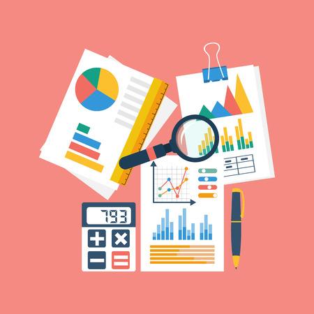 Financiële boekhouding concept. organisatie proces, analyses, onderzoek, budget planning, rapport, marktanalyse. Flat Style. vector illustratie Stock Illustratie