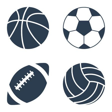 Bolas del deporte en fondo negro. Bolas del deporte fijados. balones deportivos de colección. Ilustración del vector. bolas de siluetas deportivas.