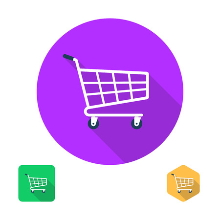 supermarket trolley: Shopping cart icon. Trolley icon. Supermarket trolley. Grocery cart icon. Flat design with long shadow. Vector shopping cart, trolley, grocery cart. Shopping icon flat style, vector Illustration