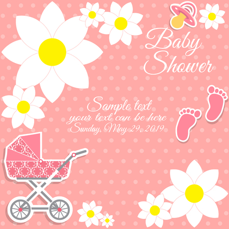 Baby shower girl, invitation card. Place for text. Greeting cards. Vector illustration.