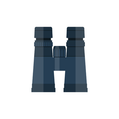 binoculars view: Binocular icon, vector flat design style. Binoculars isolated on a white background.  Vision. Top View of a pair of binoculars. Look. Vector illustration. Illustration