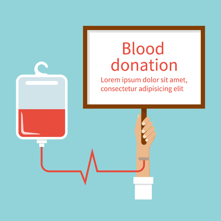 donates: Blood donation. Bag with tube, hand male donor with table for text. Vector illustration. Flat design style. Blood donor day. Blood donation concept for poster. Medical background. Human donates blood