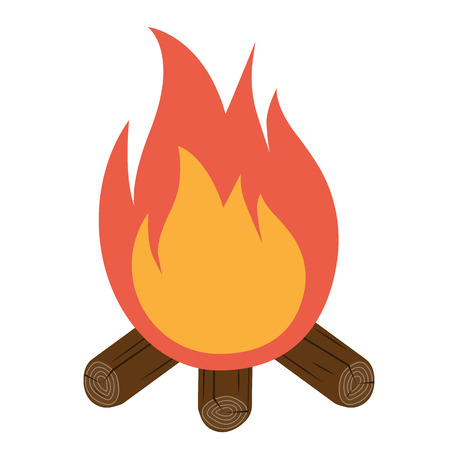 outdoor fire: Bonfire icon vector. Campfire icon. Burning bonfire isolated on white background. Flame vector. Vector illustration flat design style. Burning fire with wood. Camping.