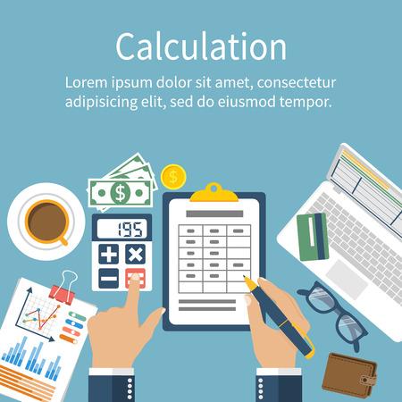 Koncepcja kalkulacji. Biznesmen, księgowy. Płaska konstrukcja, ilustracji wektorowych. Obliczenia finansowe, liczenie zysków, dochodów, podatki, statystyka, analizy danych, planowanie, raportowanie. Ilustracje wektorowe