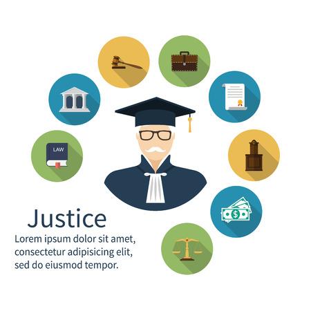 abogado: icono juez. Iconos símbolo de la ley y la justicia. Concepto ley. Juicio. Iconos del vector de abogados, estilo diseño plano. Abogado, juicio, juez martillo, abogado, jurisprudencia, escalas, balanza, las leyes de libros, juez.