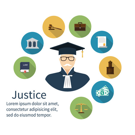 court judge: Judge icon. Icons symbol of law and justice. Concept law. Trial. Law vector icons, flat design style. Lawyer, judgement, judge gavel, attorney, jurisprudence, scales, balance, book laws, judge.