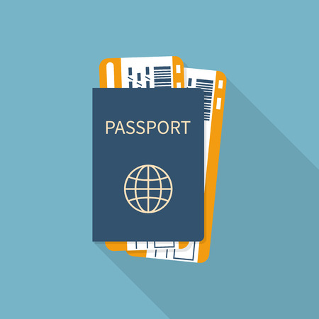 documents: Passport with tickets flat icon isolated. Concept travel and tourism. Travel documents. International passport. Vector illustration.