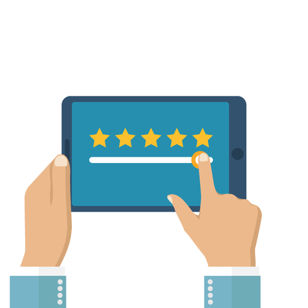 Rating vector, flat design. Feedback concept. Evaluation. Tablet in hands with rating. Rating system. Vector illustration. Tablet in the hands of men.