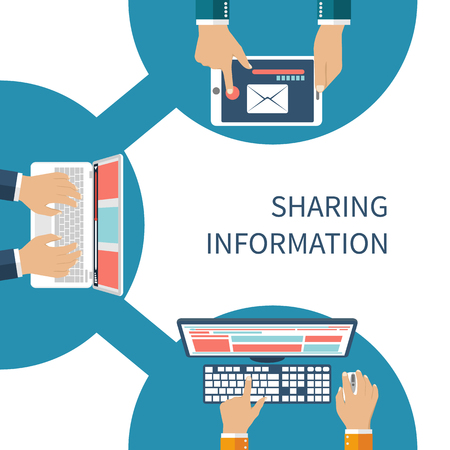 sharing information: Sharing information concept vector. Social Network, information exchange, data, web, internet. Connection and share. Flat design. Global communication. Vector illustration. User device on sign share.