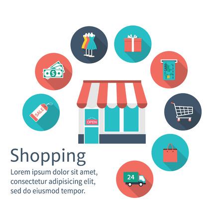 tienda de compras con iconos de compras, el concepto de compra. Las compras en línea y el comercio electrónico. estilo de diseño plano, ilustración vectorial. Las compras en línea, tienda en línea. Fije los iconos de compras.