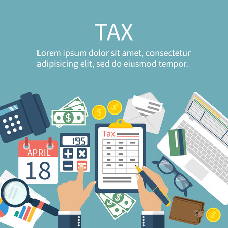 calculations: Tax payment. Government taxes. State taxes. Data analysis, paperwork, financial research, report. Businessman calculation tax. Calculation of tax return. Flat design. Tax form vector. Payment of debt.
